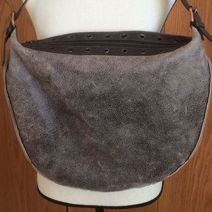Celine Brown Distressed Leather & Shearling Bag